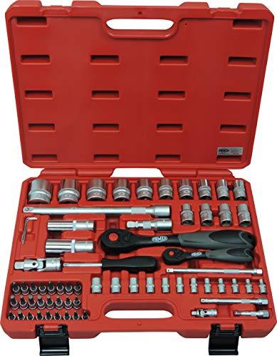 Preisvergleich Produktbild Famex 580-28 Mechaniker Steckschlüsselsatz mit Feinzahnknarren 66-teilig,  12, 5mm (1 / 2-Zoll)- und 6, 3mm (1 / 4-Zoll)-Antrieb,  4-32 mm