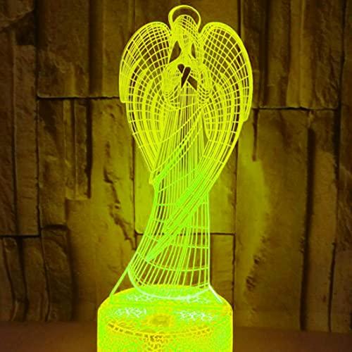 3D LED lámparas Ángel ilusion optica luz de noche 7 colores Contacto Arte Escultura luces con cables USB Lampara nocturna Decoracion Dormitorio escritorio mesa para niños adultos