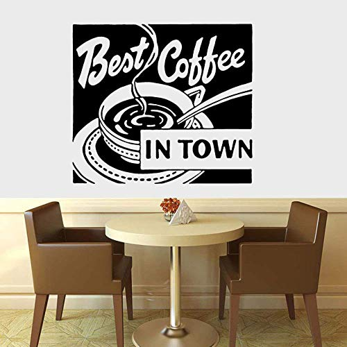 Coffee Art Sign,Beste Koffie in de stad Vinyl Muurstick, Thuis, Keuken, Restaurant, EetVinyl Sticker Waterdicht 1 47x42cm