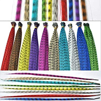 Feather Hair Extension Kit with Synthetic Feathers 100 Beads Plier and Hoo