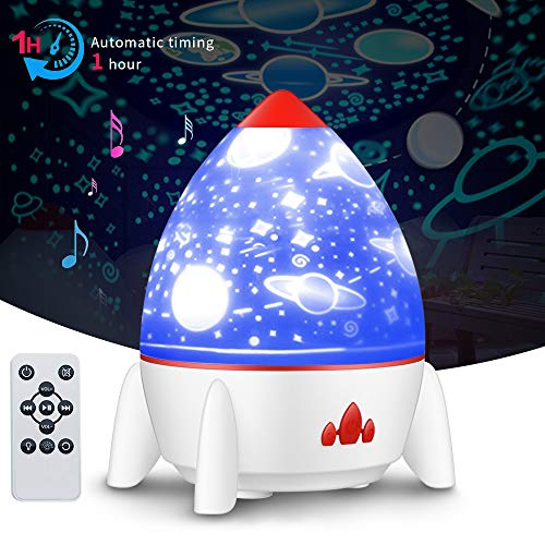 4 luces nocturnas musicales, lámpara giratoria de 360 estrellas con lámpara de proyección de cohete con control de batería recargable y diseño de temporizador