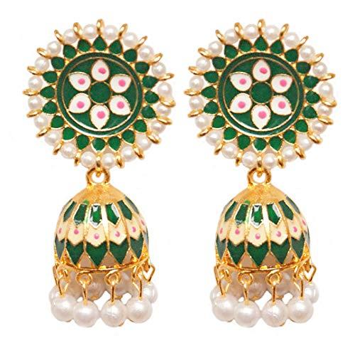 Pahal - Pendientes tradicionales de oro pintados de Meenakari con esmalte verde Jhumka con perlas indias Bollywood para novias para mujer