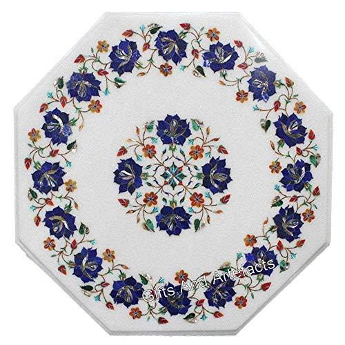 Gifts And Artefacts - Mesa auxiliar de mármol octogonal de 15 pulgadas con incrustaciones de lapislázuli semi preciosas piedras