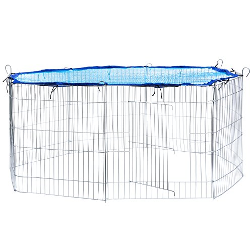 TecTake Freilaufgehege mit Schutznetz für Nager und Kleintiere   aus 8 Elementen Ø 145 cm - Diverse Farben - (Netz Blau   Nr. 402393)