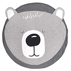 USTIDE Cotton Round Bear Nursery Rug, Baby Floor Playmats Crawling Mat Game Blanket for Kids' Room Decoration, Baby Floor Pillow, Dark Gray 35.5″x35.5″,Grey