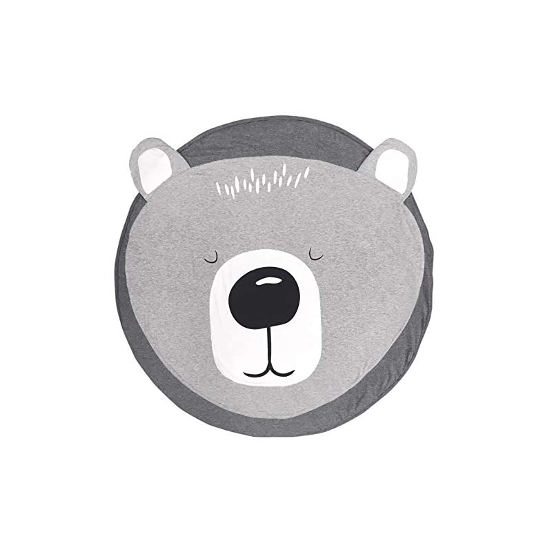 """crib bedding and baby bedding ustide cotton round bear nursery rug, baby floor playmats crawling mat game blanket for kids' room decoration, baby floor pillow, dark gray 35.5""""x35.5"""",grey"""