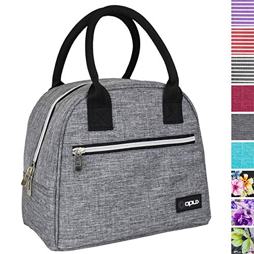 OPUX Lunch Bag for Women | Insulated Lunch Tote for Ladies, Girls, Female | Medium Reusable Soft Lunch Box Purse Cooler for School, Work, Office | Fits 12 Cans (Heather Gray)