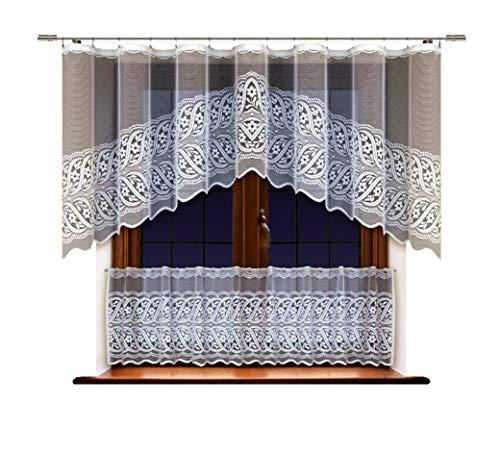 HAFT® Scheibengardinen Set 2-TLG, Bistro- und Gardine Set mit Muster 100x300 cm + 55x300 cm