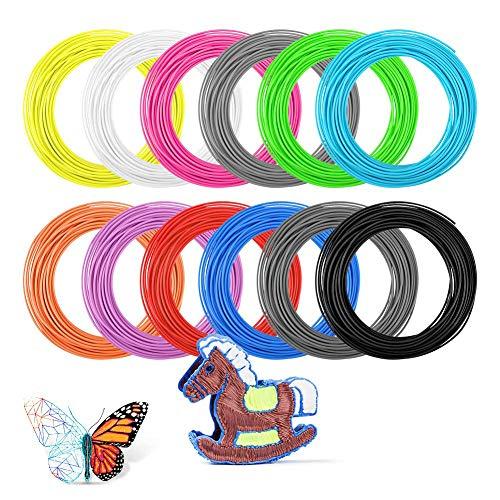 Zwini impresión 3d pluma de filamentos de pla, 3d pluma de filamento 12 colores 1,75 mm 16,4 pies por 197 pies de color total de la impresora 3d de filamentos de