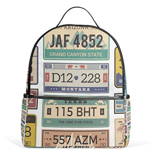 ISAOA Lightweight School Backpack,Casual Rucksack Backpack for Youth Teenager Girls and Boys,Automobile Plate License Utah USA Or Indiana Different State Car Registration Travel School Bags