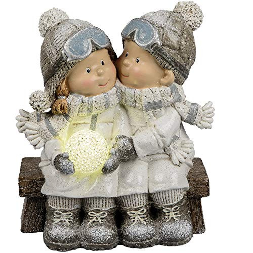 formano Dekofigur Winterkinder Paar auf Bank mit LED Kugel H. 24cm W19