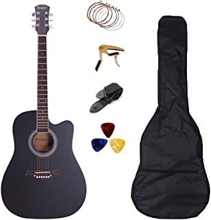 41 inch Acoustic Guitar Set Full Size Cutaway Folk Guitar Bundles with Bag Pick Capo Strings Rosefinch Wooden Guitar for Beginners Adult (Black)
