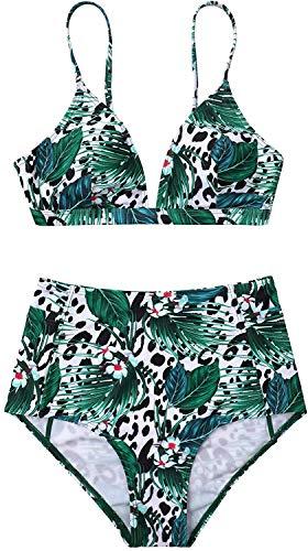CharmLeaks Bikini Swimsuit for Women High Waisted Triangle 2 Piece Leaf Swimwear L