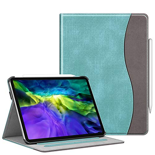 FINTIE Case for iPad Pro 11' 2020/2018 with Pencil Holder - Multi-Angle Viewing Folio Smart Stand Cover [Supports Apple Pencil 2nd Gen Charging Mode] with Pocket, Auto Sleep/Wake, Turquoise
