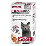 BEAPHAR - FIPROTEC COMBO au Fipronil et (S)-Méthoprène dosés à 50 mg/60 mg - Solution spot-on pour chats et furets (1kg) – Agit contre puces, tiques et poux broyeurs - 3 pipettes de 0,5 ml