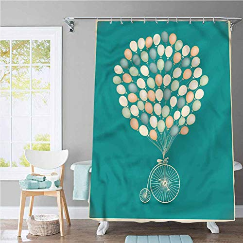 ScottDecor Vintage Waterproof Fabric Bathroom Curtain Retro Bike with Baloons for Home and Hotel 72 x 72 Inch