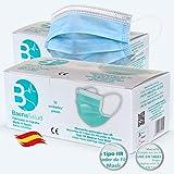 100 Mascarillas Quirúrgicas, higiénicas, desechables, Tipo IIR, en color azul, filtración (BFE) 98%, hechas en España
