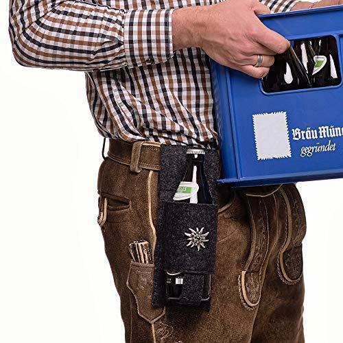 BIERHALTER aus Filz | Flaschen Holster mit Edelweiss | Bierholster zur Lederhosen im Trachten-Look | Geschenk für Herren | Bier Accessoire
