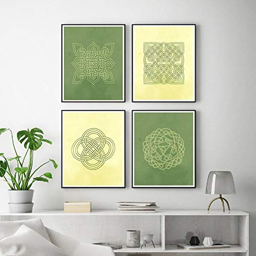 dayanzai Scottish Medieval Europe Style Celtic Knot Design Canvas Posters and Prints Irish Green & Cream Painting Home Wall Art Decor/30x40cmx4Pcs-No Frame