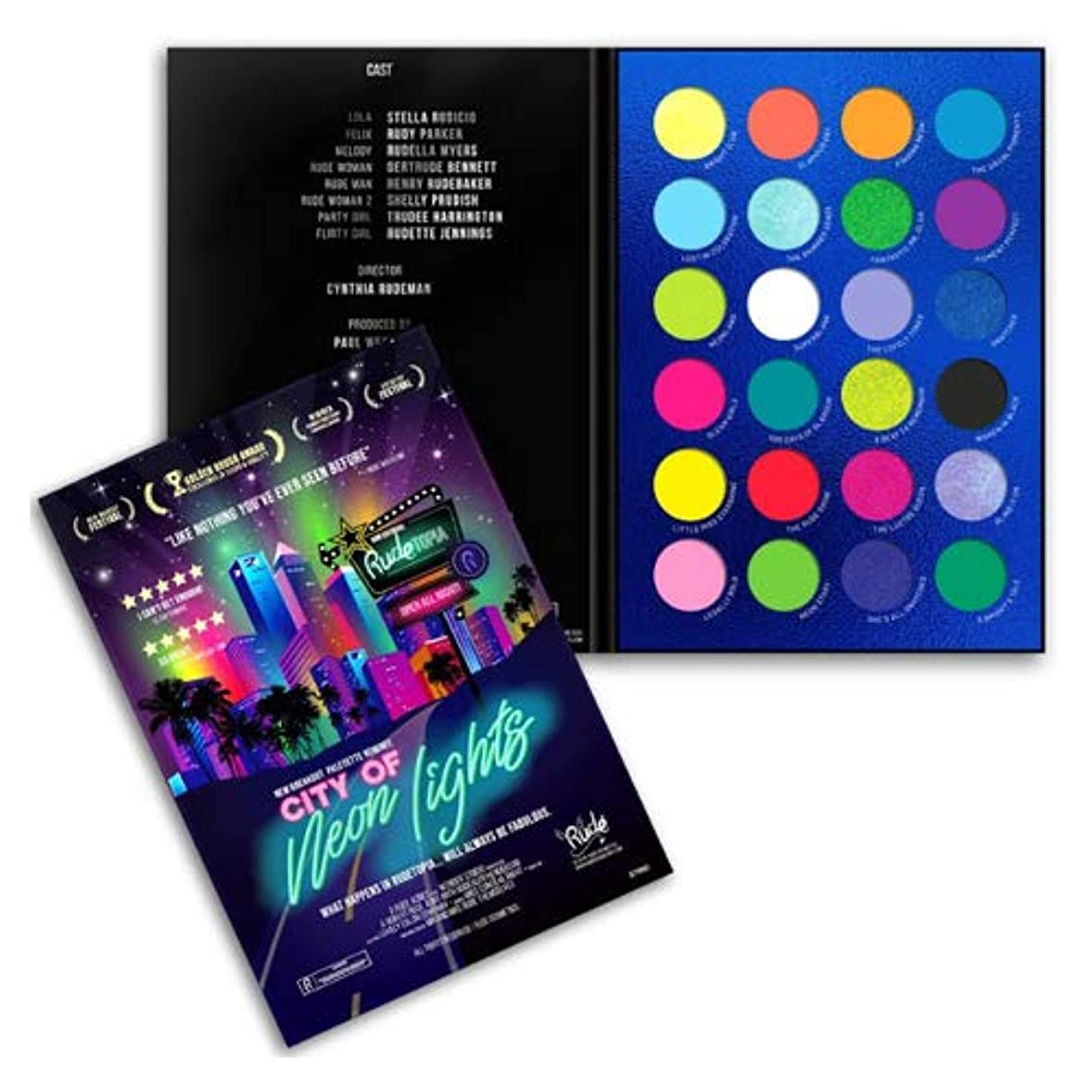 遅らせる機知に富んだシャツRUDE City of Neon Lights - 24 Vibrant Pigment & Eyeshadow Palette (並行輸入品)