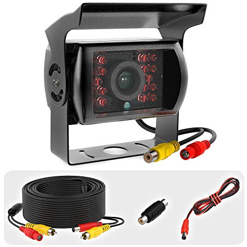 E-KYLIN Car 12V 24V Truck Parking System 7 LCD HD Monitor + Heavy Duty Camera 30FT Video Extension Cable Auto Trigger IR Night Vision 10M