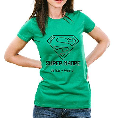 Calledelregalo Regalo para Madres Personalizable: Camiseta 'SuperMadre' Personalizada con el Nombre o Nombres Que tú Quieras (Verde)