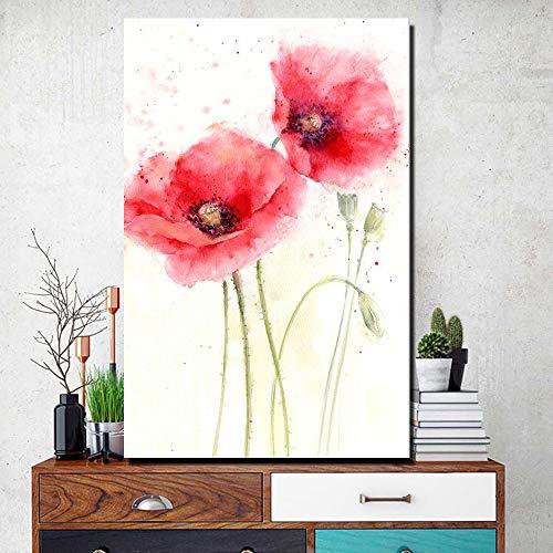 Vita&kki wandafbeelding linnen 60X90Cm - afbeeldingen op doek en posters wandafbeeldingen klaprozen canvas schilderijen patroonkleur rode bloemen Cuadros afbeeldingen voor woonzi