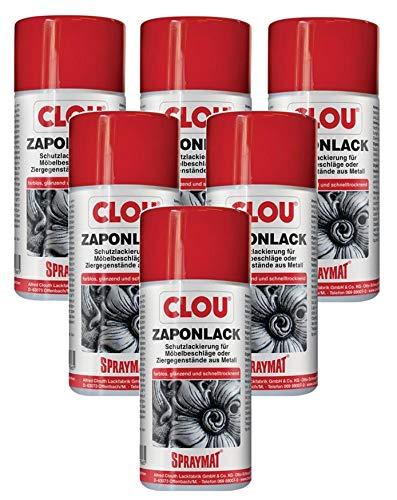 Clou Spraymat Zaponlack zur Schutz-Lackierung von Möbelbeschlägen und Ziergegenständen aus Metall im Innenbereich, 6x300ml