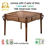 Luxury 166 American Tiles Solid Ash Wood Automatic Mahjong Table with 4 Legs, Drawers, Comes 2 Sets of 40mm Magnetic Numbered Tiles (Blue & Green) & 1 Wooden Table Cover