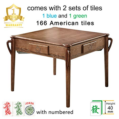 Luxury 166 American Tiles Solid Ash Wood Automatic Mahjong Table with 4 Legs, Drawers, Comes 2 Sets of 40mm Magnetic...