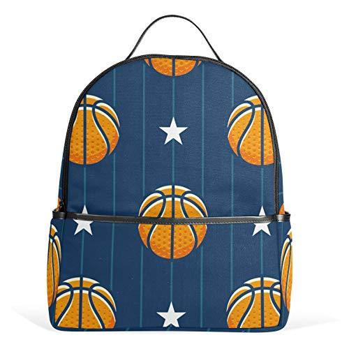 JinDoDo - Mochila de baloncesto con diseño de rayas de estrellas, mochila informal para niñas, niños, adolescentes