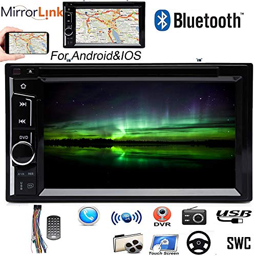 """Double Two Din Car Stereo for Chevy Silverado 1500 Truck (2004-2013), Support Bluetooth, Dual System Mirror Link, DVD/CD Player, AM/FM Radio, Subwoofer, AUX, USB, 6.2"""" Touchscreen, 2Yr Warranty"""