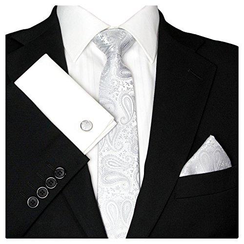 GASSANI GASSANI Herrenkrawatte Schmal Paisley-Muster, Silber-Graue Hochzeitskrawatte Gemustert, Einstecktuch Manschettenknöpfe Z. Hochzeits-Anzug Sakko