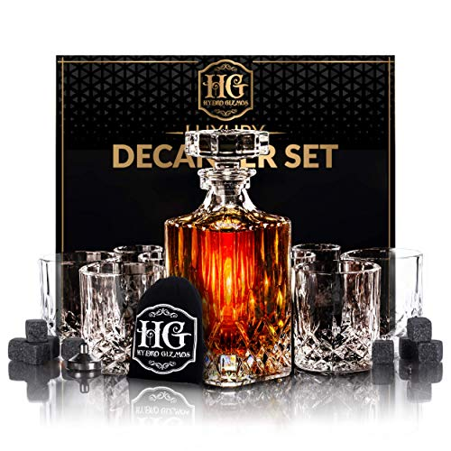 Premium Glass Decanter Set, Whiskey Decanter Set 4 Liquor Glasses, Mens Gift 9 Cooling Whisky Stones and Funnel for Rum, Scotch, Bourbon, Whisky, Crystal Liquor Decanter Drinking Set (Classic glass)