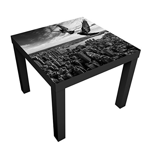 Bilderwelten Table Basse Design - Pigeons on The Empire State Building - 55x55x45cm, Couleur de la Table: Table de Noir, Dimension: 55 x 55 x 45cm