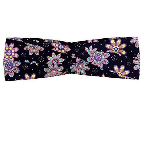 ABAKUHAUS Foulard bandana en forme de fleur avec boule de clown et fond à pois Motif rétro Élastique et confortable