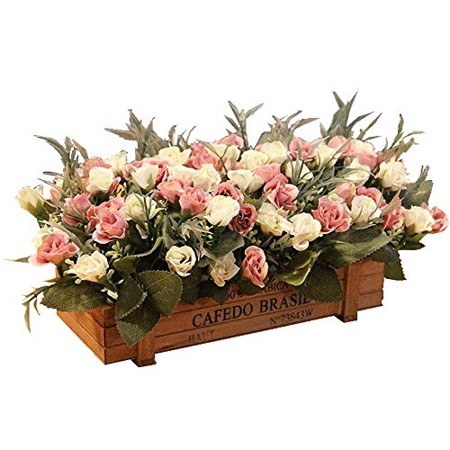 DSPOPEN68 Flores Artificiales Flores Artificiales Regalos Fiesta De Boda Cocina Decoraciones Para El Hogar Valla De Madera Bricolaje Valla De Madera Olla Blanco Rosa -26