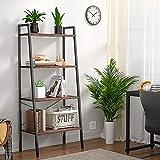 Homieasy Ladder Shelf Bookcase, Industrial 4-Tier Bookshelf for Living Room, Wood Leaning Bookshelf, Display Shelf for Bedroom, Office