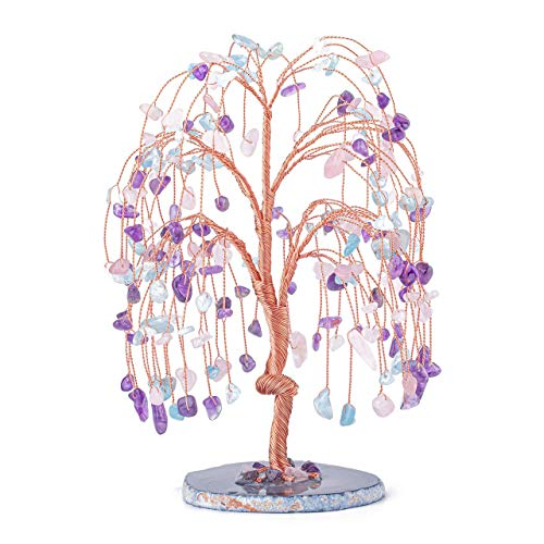 CrystalTears Amethyst Rose Quartz Aquamarine Healing Crystal Money Tree Natural Crystal Gemstone Bonsai Tree with Agate Slice Geode Base for Wealth Good Luck Home Decor 5.5'-6.3'