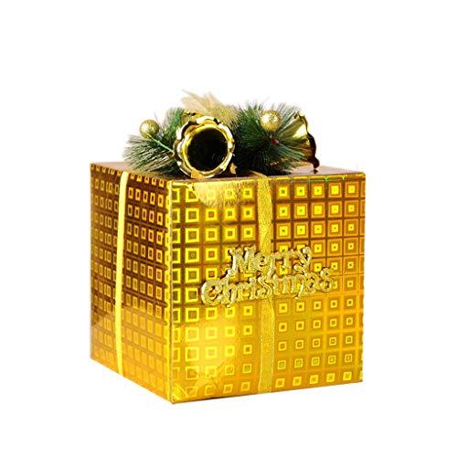 Gift Box Decorazione Dono dell' Albero di Natale Scatola Props Arrangement Pile Piazza vetrina Decorazioni (Color : Gold, Size : 15 * 15cm)
