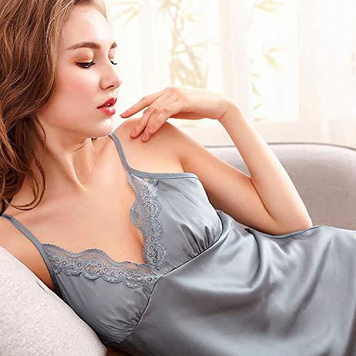 BH-Hemden für Damen Kostüme für Erwachsene Summer Short Dress Ice Silk lace Princess Pajamas Skirt Suspenders Pajamas sexy Light Tide Two-Piece Suit Ladies Home Service Light Gray L