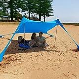 Strand Schatten Zelt Sun Shelter Familie Strand Sonnenschutz UV Schutz Tragbare Sonnenschutz Große Leichte Baldachin Strand Zelte mit Sandsack Anker 4 Free Pegs für Beach Fishing Camping...