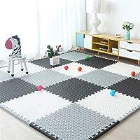 ジグソーパズルプレイマット、赤ちゃん用インターロッキングクロールマット子供のプレイエリアのリビングルームの寝室のジムに適しています-完璧な家の装飾,White+black+gray,9