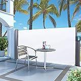 Uxsiya Diseño telescópico Extensible de la Cortina Lateral del toldo de la Pared Lateral del jardín para el balcón para el Exterior(Beige, White)