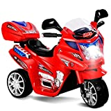 Costzon Ride On Motorcycle, 6V Battery Powered 3 Wheels Electric Bicycle, Ride On Vehicle with Music, Horn, Headlights (Red)