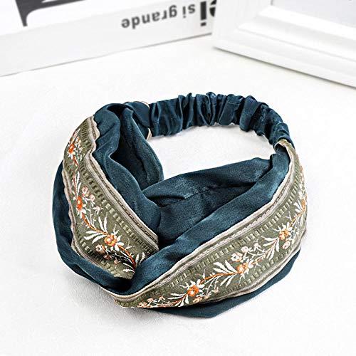 Empty Femmes Mode Couleur Ethnique Broderie Bande de Cheveux Bowknot Bandeau Accessoires de Cheveux Sauvages Large épingle à Cheveux-Bleu
