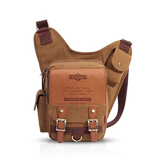 FANDARE Vintage Sling Bag Umhängetasche Messenger Bag Hiking Bag Crossbody Bag Rucksack Canvas Khaki B