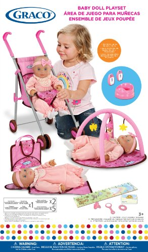 Graco Baby Doll Playset with Stroller, Playgym, Travel Bag, Potty, Baby Monitors and Accessories