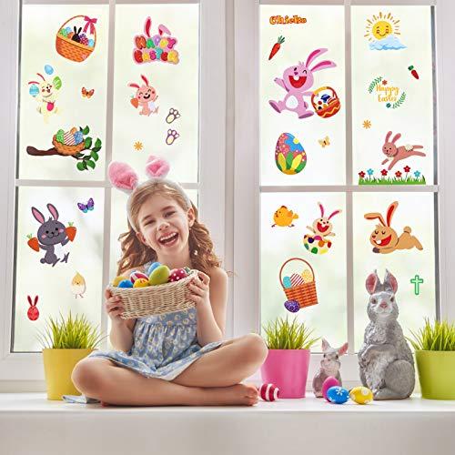 PRETYZOOM Ostern Fenster Haftet Ei Hase Dekoration Aufkleber Abnehmbare PVC Ostern Party Fenster Dekorationen 6 Blatt