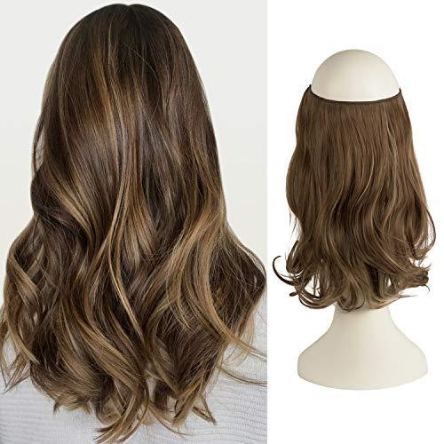 Extensiones de cabello Feshfen tipo aureola, de una sola pieza, alambre invisible, pelo rizado y ondulado, cabello sintético para mujer.